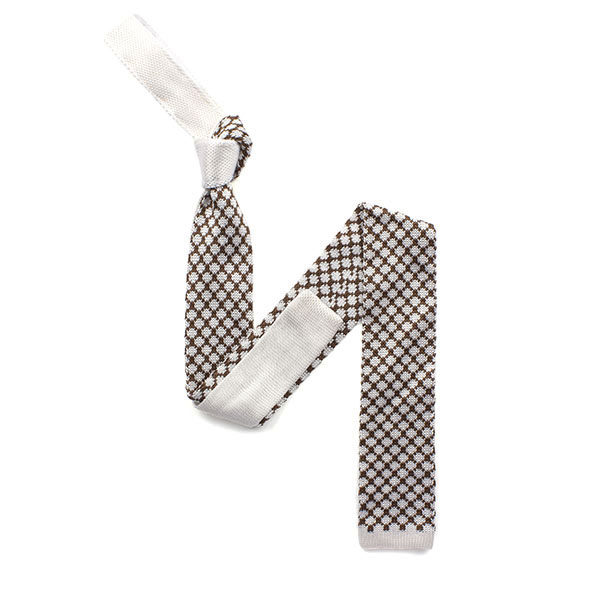 White/brown checked silk knitted tie-0