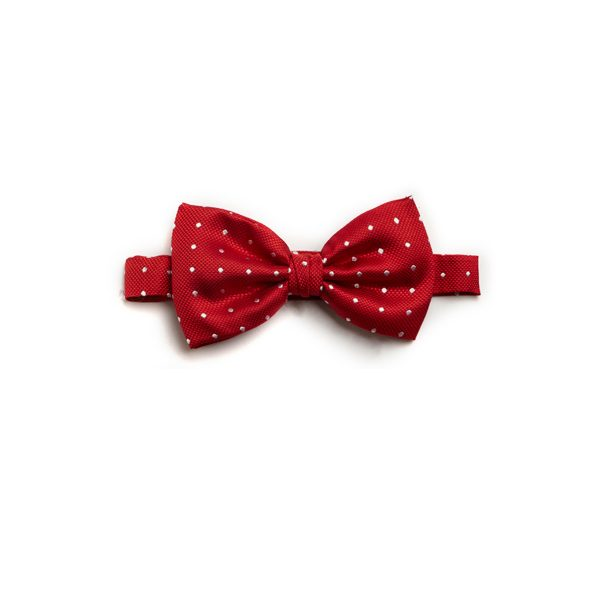 spotted red/white silk bowtie-0