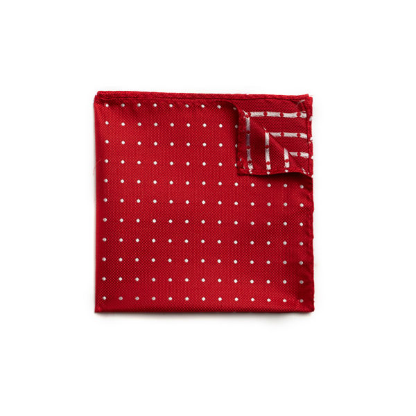 Red/white spotted silk pocket square-0