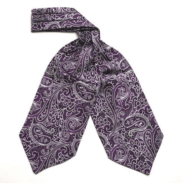 Dark Purple Paisley Silk Cravat-0