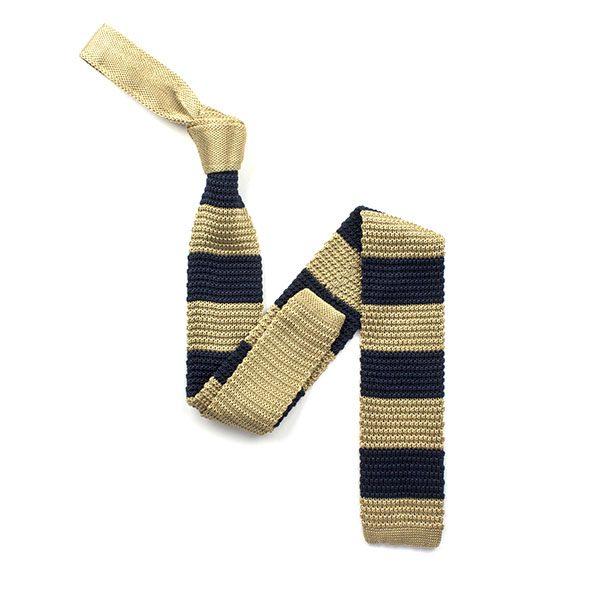 Navy/gold striped silk knitted tie-0