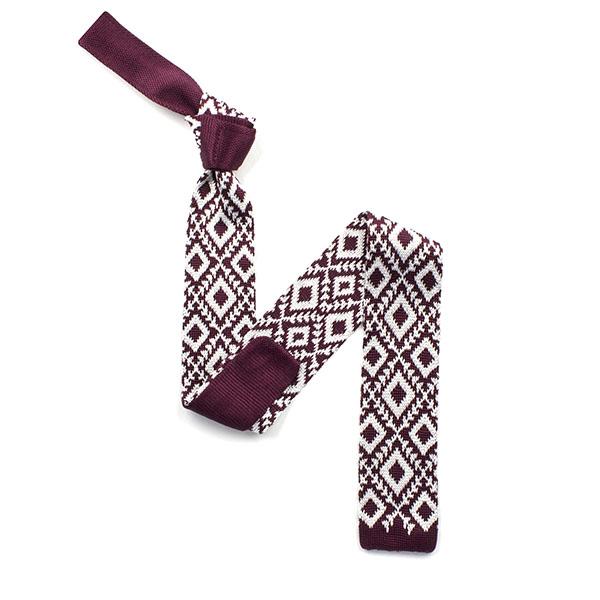 Burgundy/white diamond silk knitted tie