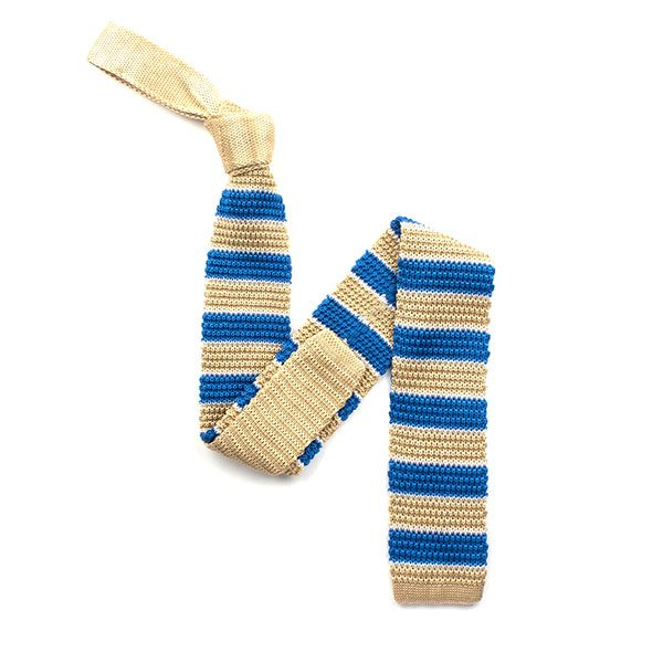 Blue/gold broad striped silk knitted tie-0