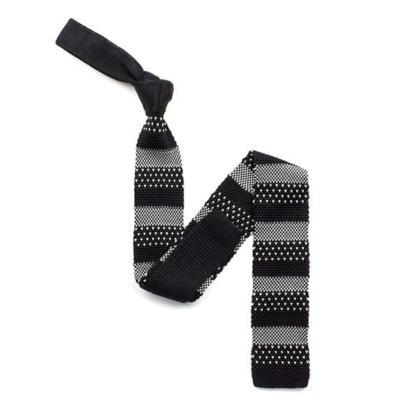Black/white broad striped silk knitted tie-0