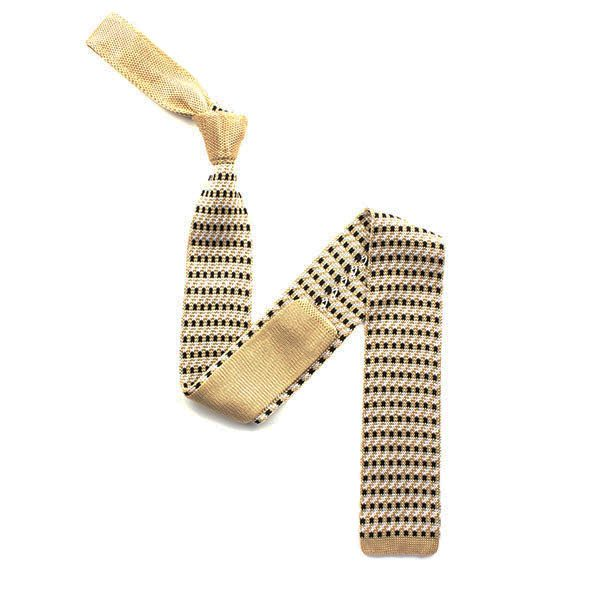 gold/black squared silk knitted tie-0