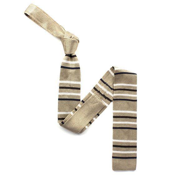 beige/black/white striped silk knitted tie-0