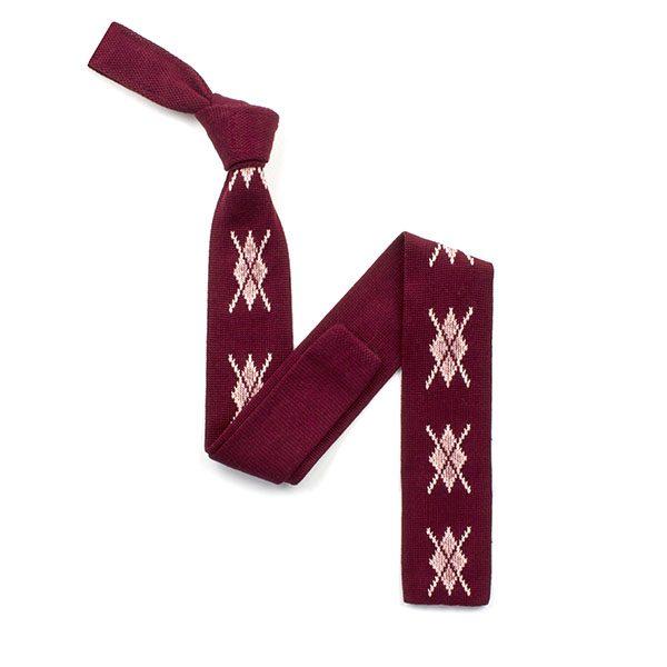 Burgundy/pink diamond silk knitted tie-0