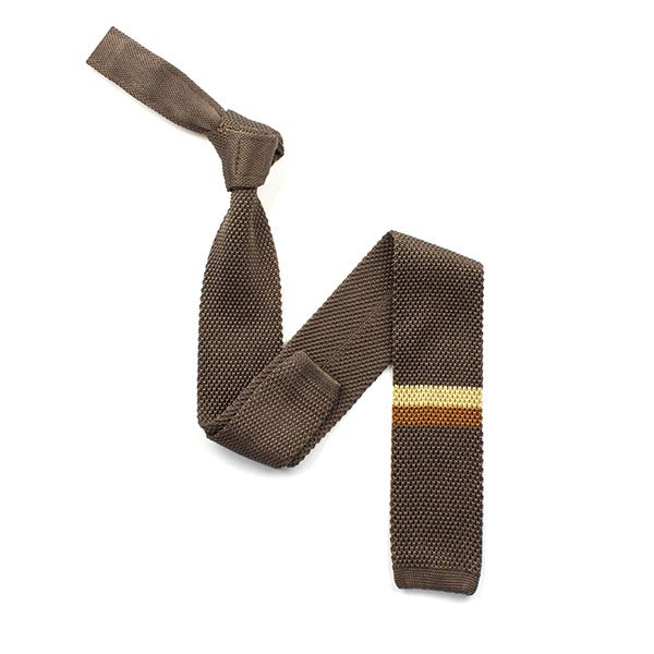 Taupe/gold/bronze striped silk knitted tie-0