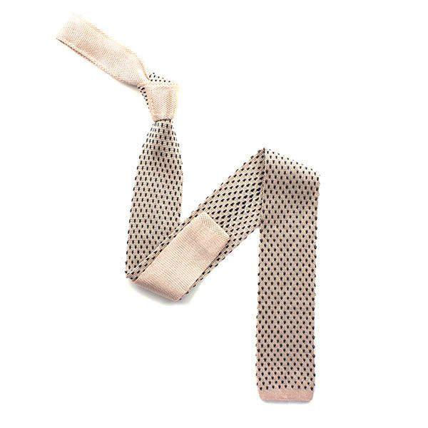 Pink/black speckled silk knitted tie-0