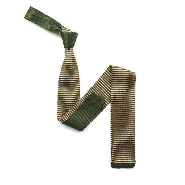 Khaki green/beige stripe silk knitted tie-0