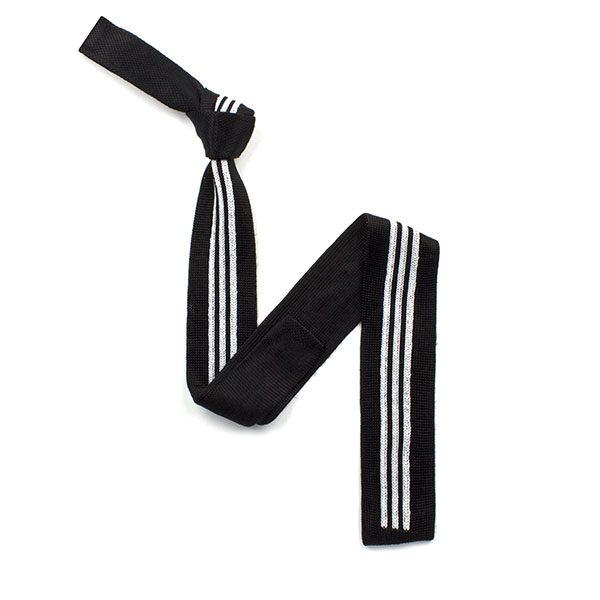Black/white striped silk knitted tie-0