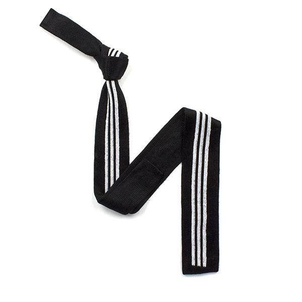 Black/white striped silk knitted tie