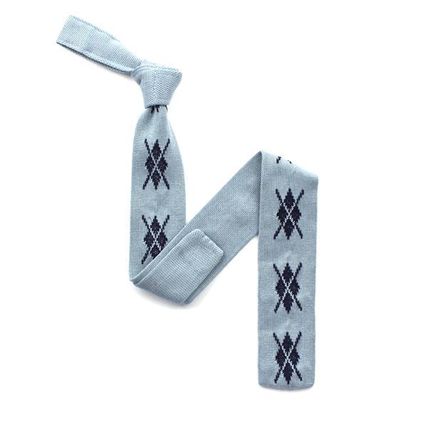 Sky blue/navy diamond silk knitted tie