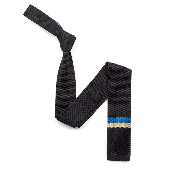 Black/blue/cream striped silk knitted tie-0