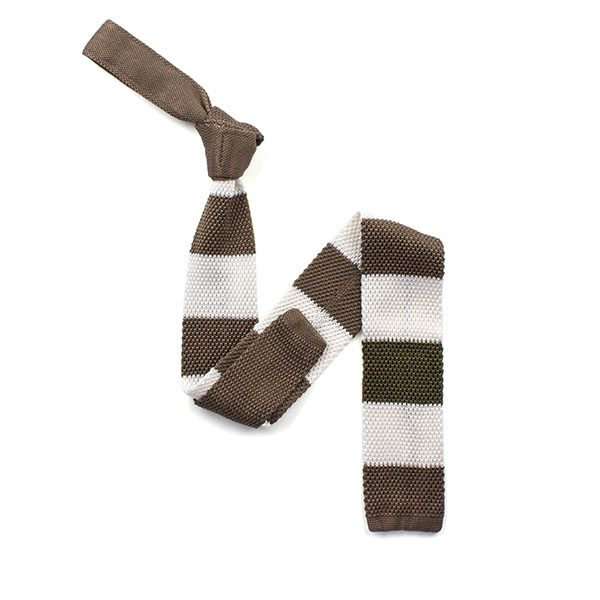 Green/brown/white striped silk knitted tie-0