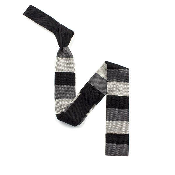 Black/grey striped silk knitted tie-0