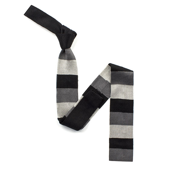 Black/grey striped silk knitted tie