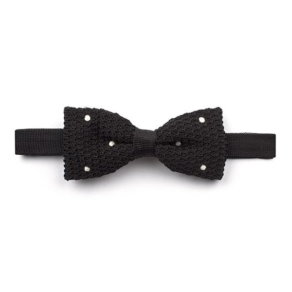 Black/white Polka Dot Knitted Silk Bow Tie