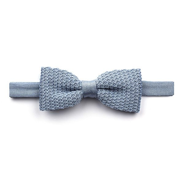 Plain sky Blue Knitted Silk Bow Tie-0