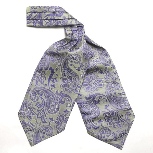 Sage/purple Paisley Silk Cravat-0