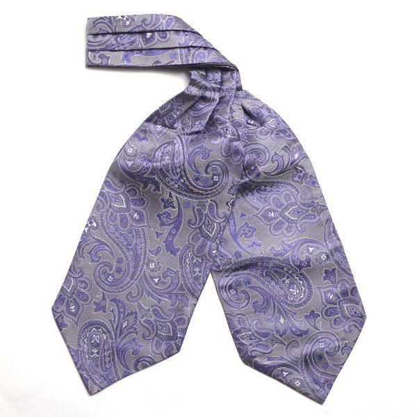 purple/silver Paisley Silk Cravat-0