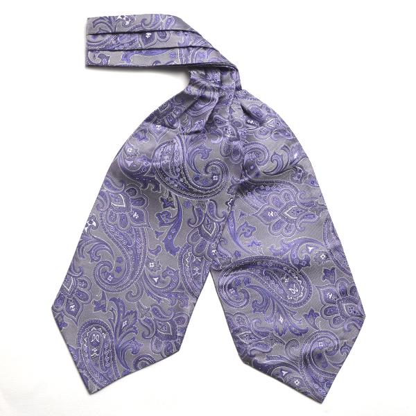 purple/silver Paisley Silk Cravat