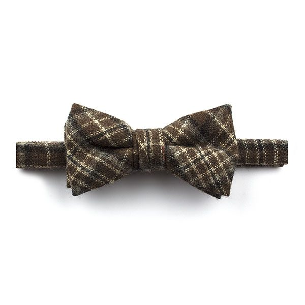 Brown/White Madras Check Tweed Bow Tie-0