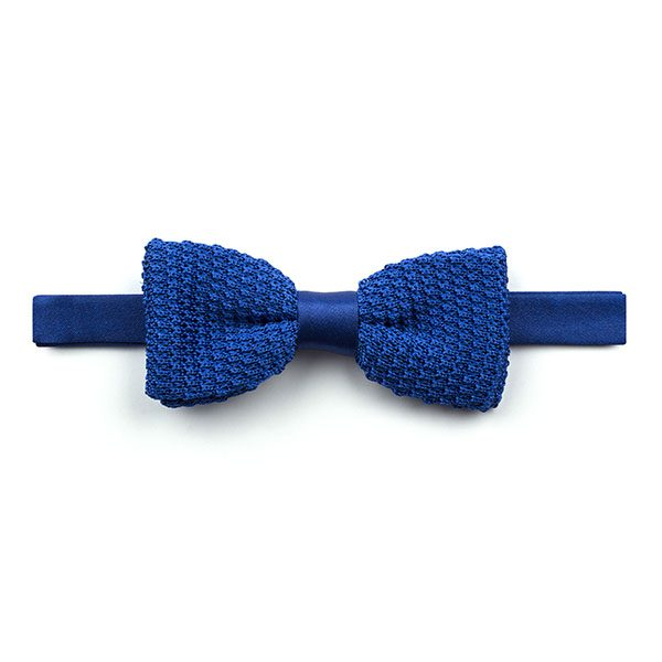 Plain Royal Blue Knitted Silk Bow Tie-0
