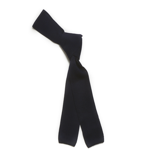 Navy Skinny Silk Knitted Scarf