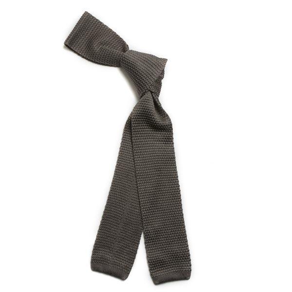 Grey Skinny Silk Knitted Scarf-0