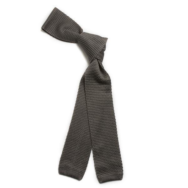 Grey Skinny Silk Knitted Scarf