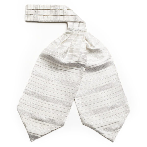 White/silver striped silk cravat-0