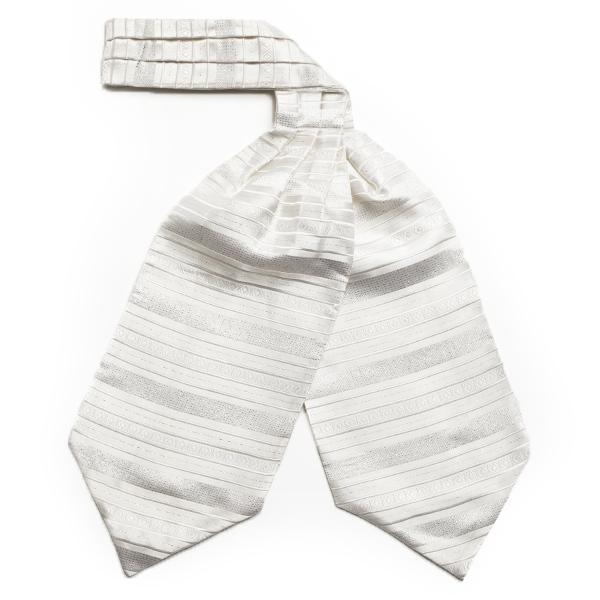 White/silver striped silk cravat-0