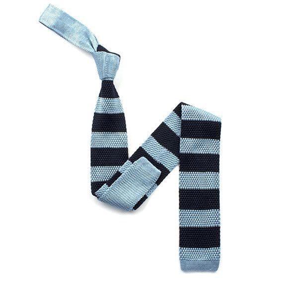 Navy/sky blue striped silk knitted tie-0