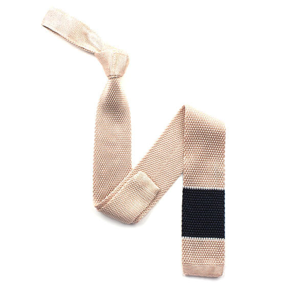 Pink/Navy Block striped silk knitted tie