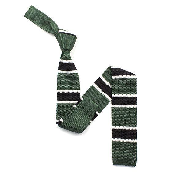 Green/black striped silk knitted tie-0