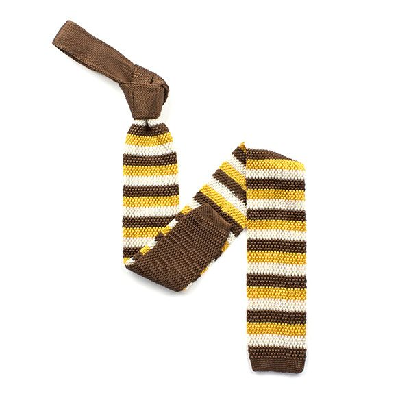 Brown/cream/yellow striped silk knitted tie-0