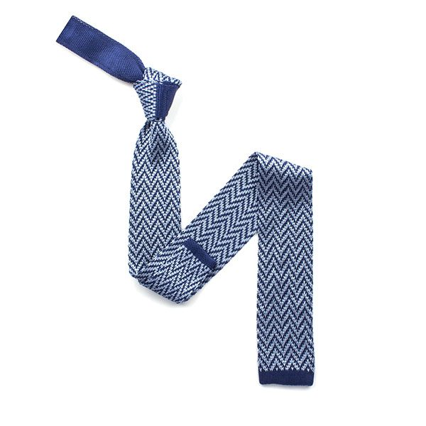 blue/white herringbone silk knitted tie-0