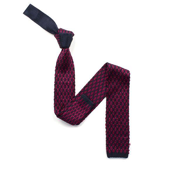Navy/rasberry red diamond silk knitted tie-0
