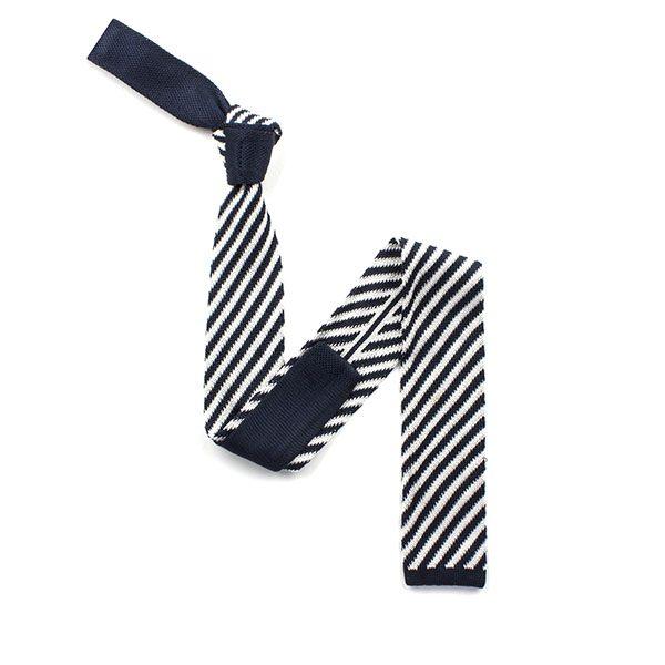 Navy/white striped silk knitted tie-0