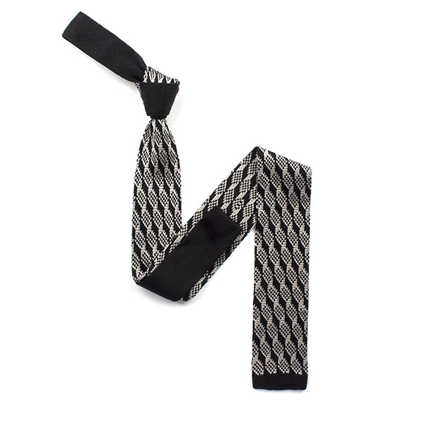 Black/silver diamond silk knitted tie