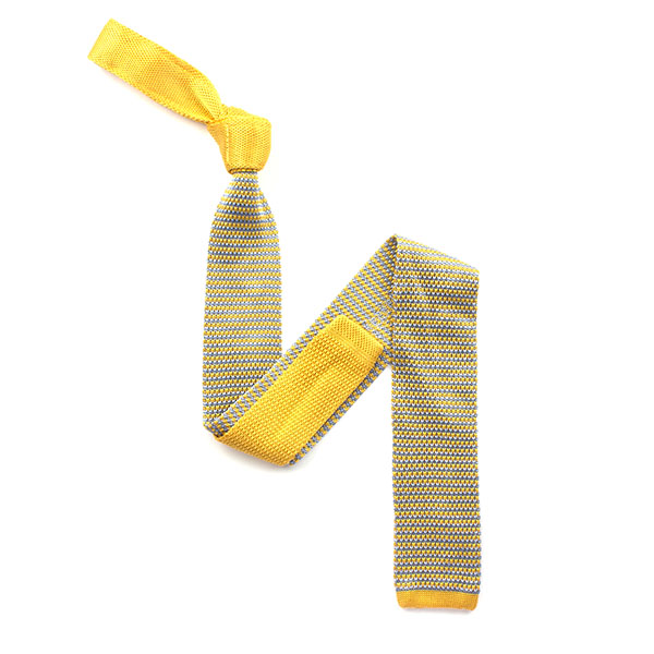 Yellow/sky blue silk knitted tie
