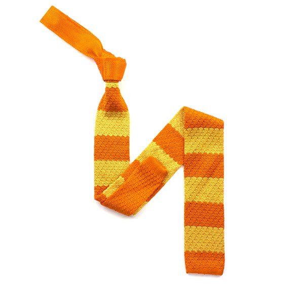 Orange/yellow striped silk knitted tie-0