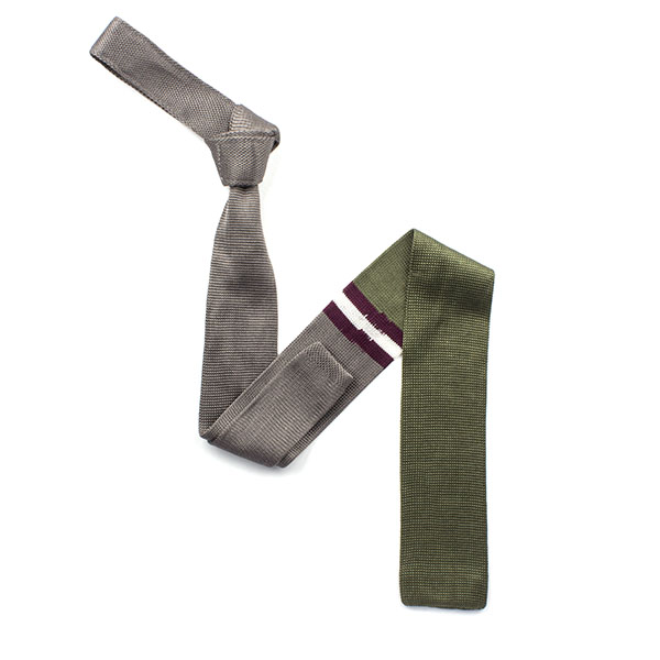 Green/silver/maroon striped silk knitted tie