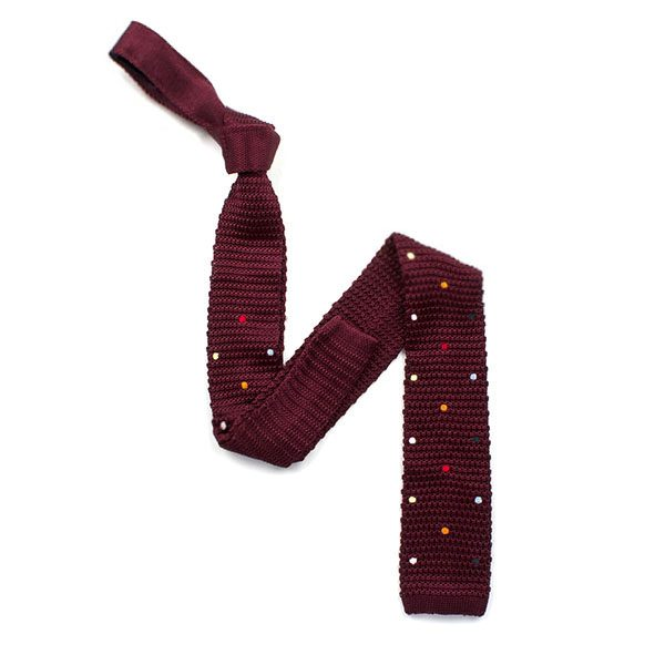 Burgundy/multi spotted silk knitted tie-0