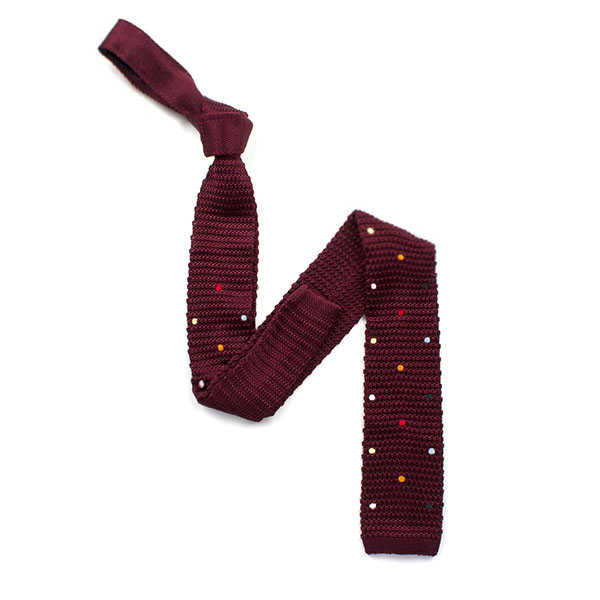 Burgundy/Multi Spotted Silk Knitted Tie