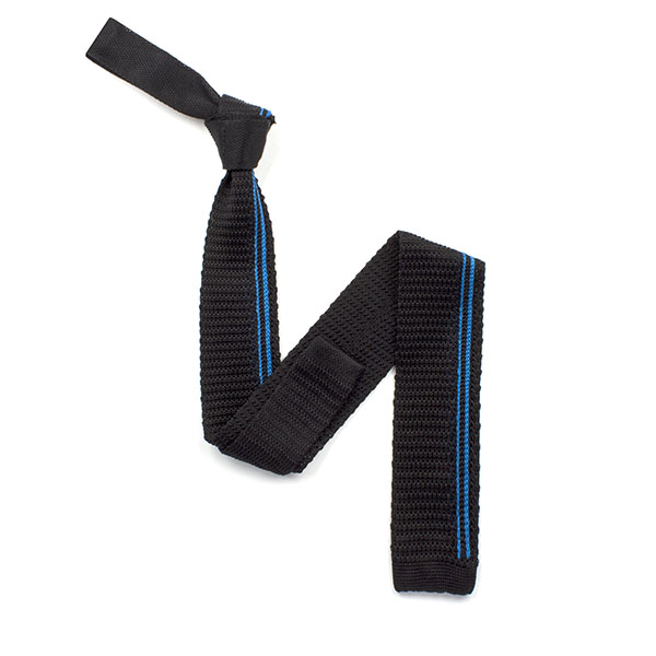 Black/blue striped silk knitted tie