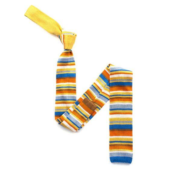 Orange/blue/white striped silk knitted tie-0