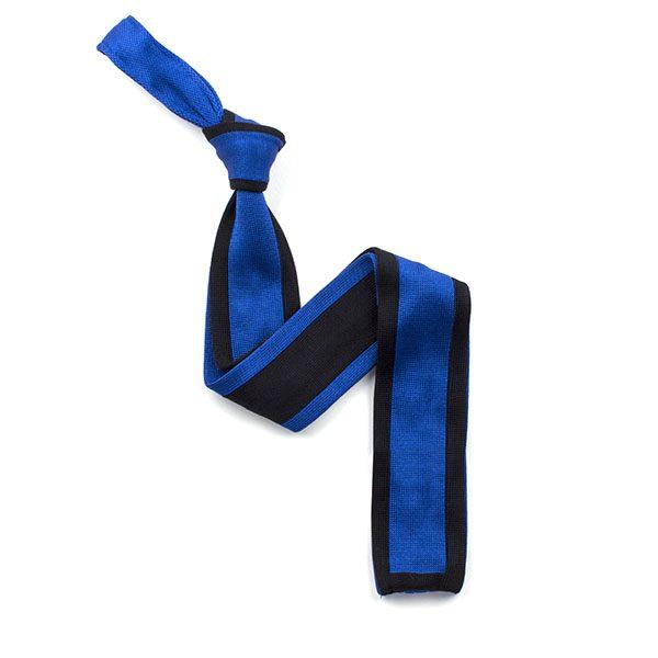 Blue/navy silk knitted tie-0