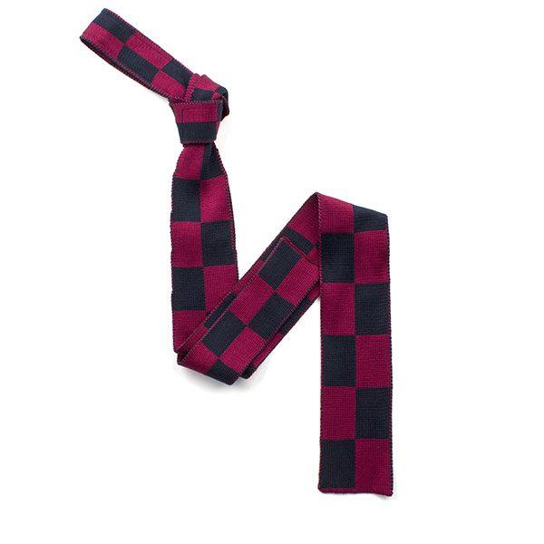 Navy/WINE RED harlequin silk knitted tie-0